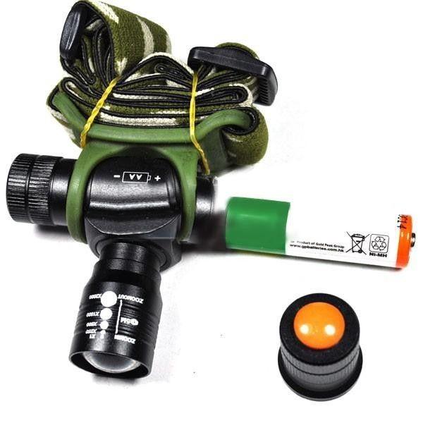 Lanterna frontala cu zoom si acumulator tip 14505 HCM