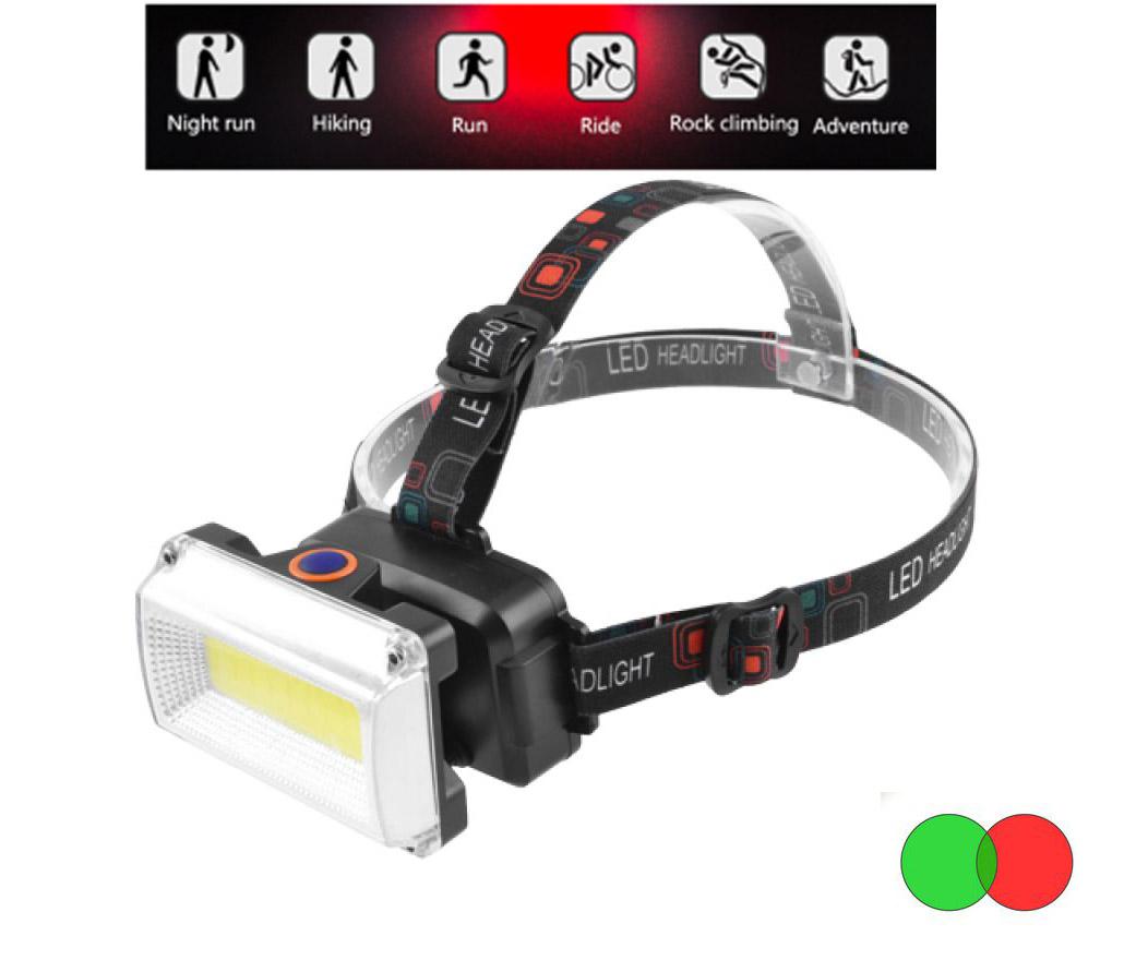 Lanterna frontala LED COB RGB cu acumulator iluminare alb rosu verde