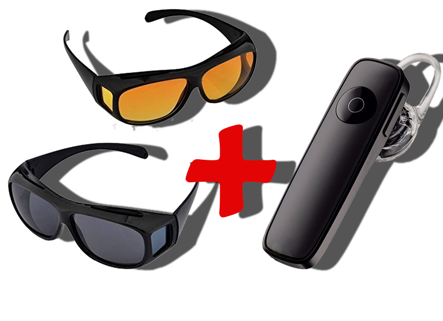 Oferta Speciala Ochelari pentru condus zi si noapte HD Vision + Casca Bluetooth