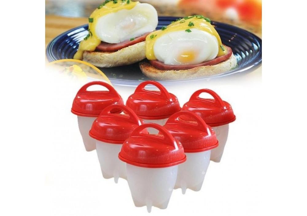 Forme din silicon pentru fiert oua, cu capac