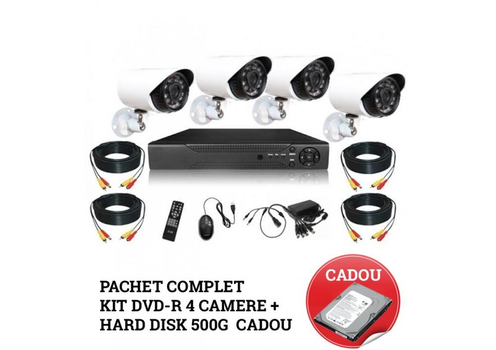 Pachet complet Kit supraveghere DVR CCTV 4 camere + Hard Disk 500 G cadou