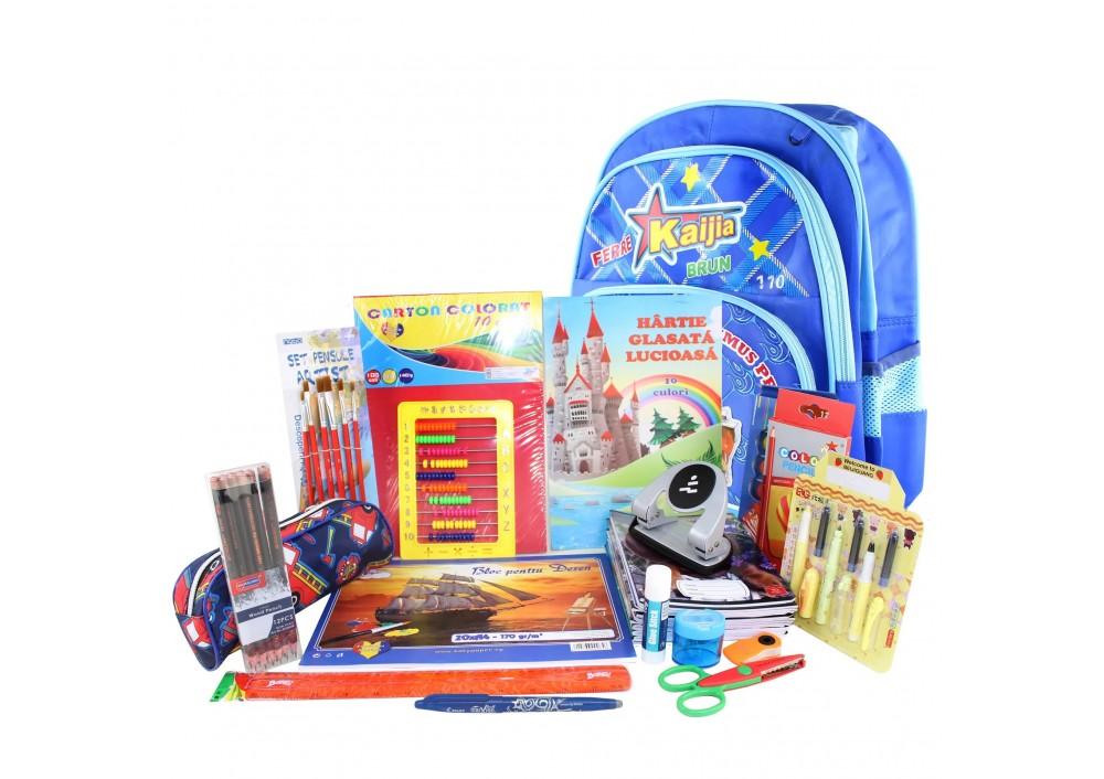 Ghiozdan complet, Pachet de rechizite copii pentru baieti/fete, clasele 1-2, 23 produse