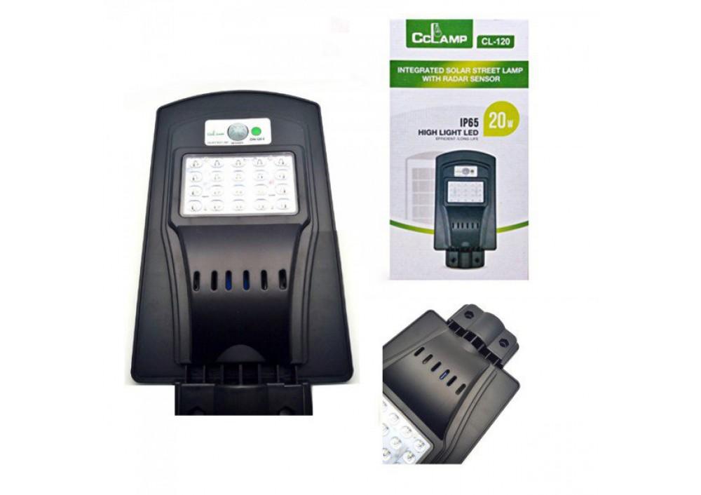 Lampa stradala LED IP65 cu panou solar si senzori 20 W
