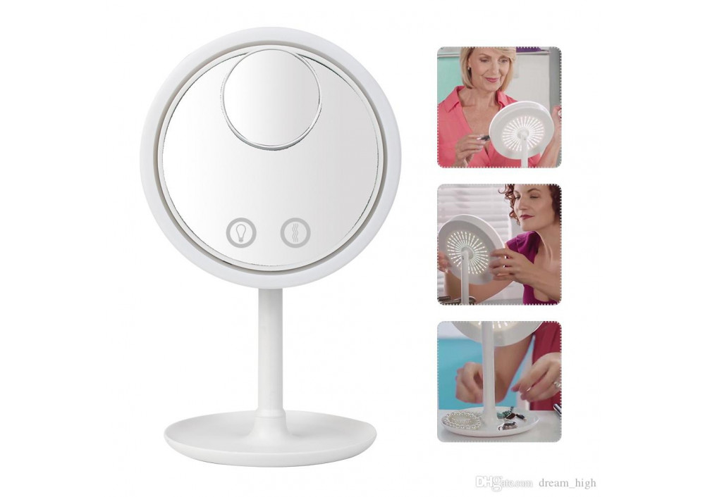 Oglinda make-up cu led, ventilator si functie touch