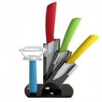 Set 3 cutite ceramica cu suport si curatator Ceramic Knife