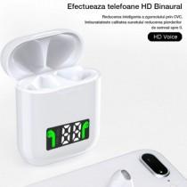 Casti i99 TWS, Bluetooth 5.0, incarcare wireless QI, Afisaj digital, Waterproof IPx6