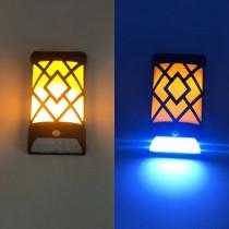 Set 2 Lampi LED Solare Pentru Perete, 2 in 1, Efect De Flacara, Senzor de miscare