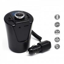 Modulator FM Bluetooth Handsfree si incarcator Maşină, Ecran LCD suport pahar