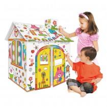 Casuta din carton pentru copii de colorat, asamblat si pictat