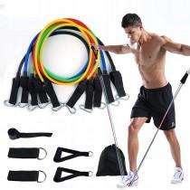 Set 5 corzi elastice din latex cu accesorii pentru toate grupele musculare